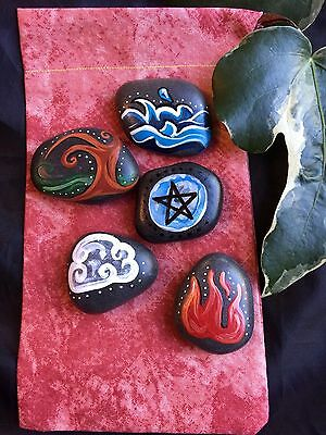 Sea Stone ELEMENTAL SET & Pouch. Welsh Element Pagan Altar Stones. Witch Wicca