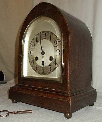 Junghans B21 WOODEN Cased Mantel CLOCK - CHIME Silvered FACE For RESTORATION • £89.96