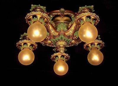 LION  FIVE BULB SEMI FLUSH MOUNT CEILING LIGHT FIXTURE  Ca 1924 RESTORED