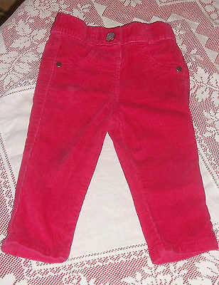 Baby Girls Fine Corduroy Hot Pink Trousers Age 9-12 Months