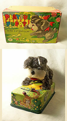 Charming Vtg Battery Operated Modern Toys Playful Puppy & Caterpillar Works Nmib