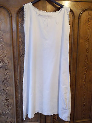 Vintage French Nightdress White Brod Anglais Hand Embroidery