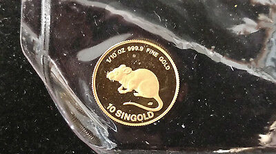 $10 Singold Singapore 1/10 oz Gold Coin 1984 Year of the Rat