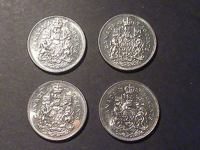 Lot of four mint state Canadian 50-cent error coins