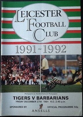 1991 LEICESTER v BARBARIANS programme