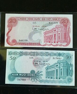 1970 Vietnam South banknote 20 & 50 Dong  find condition.