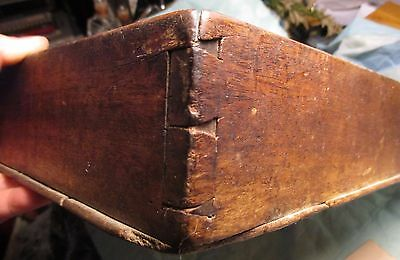 Antique Vintage WOOD Country PRIMITIVE KNIFE BOX Carrying TRAY Brass Handle OLD