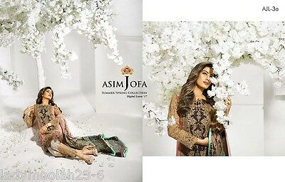 Shalwar Kameez Asian Indian Designer ASIM JOFA Embroidered Linen Suit 3PC P&P