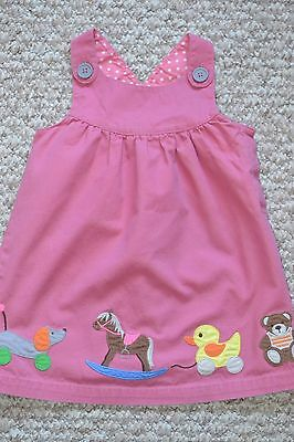 Lovely Baby Boden Girls Pink Toys Applique Pinafore Dress 18-24 Months EUC