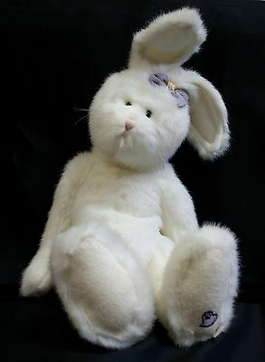 """Boyds 16"""" White Plush Rabbit/Hare With Stand"""