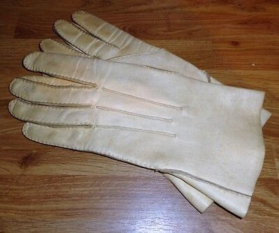 Vintage Hand Stitched Cream Leather Gloves, Size S/M