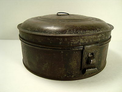 Round Antique Primitive Metal Spice Canister Set**Great Patina**