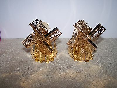 Pair Of Vintage 1995 Danbury Mint? Gold Colored Windmill Ornaments