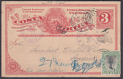 1905 Costa Rica uprated Stationery Postcard Cartago to London (Receiver)