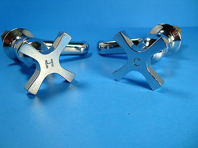 "Vintage Pair Of ""Crane"" Chrome Cross Handle *Hot**Cold* Sink Faucets**1950's ?**"