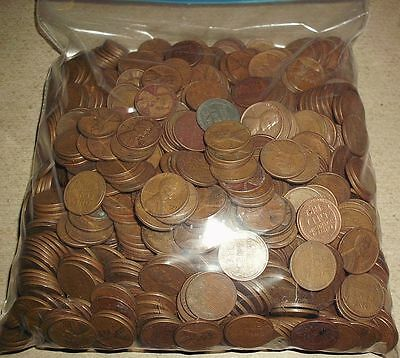 1000 Lincoln Wheat Cents Copper Pennies in a Bag 40's & 50's Unsearched