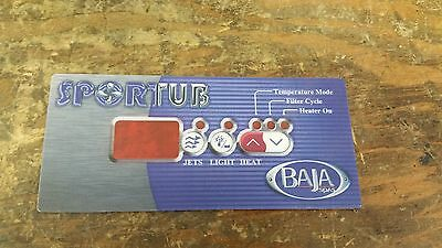 Overlay Faceplate Baja Hot Tub Replacement Sport Tub Temperature, Filter, Heater