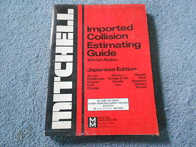 1980 Mitchell Imported Collision Estimating Guide Japanese Edition Part Numbers