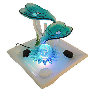 Turquoise Glass Petals Water Fountain LED Lights   Table Top Fountain