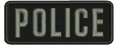 POLICE embroidery patch 2x5 hook grey letters