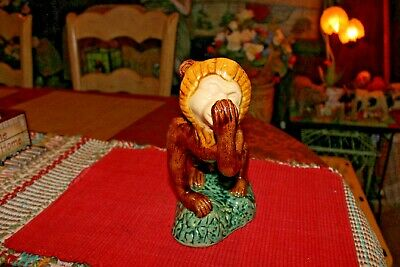 Majolica Monkey Pottery Statue-Capuchin Monkey Licking Paw-Green Brown Color