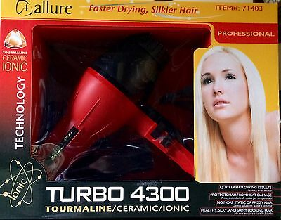 Allure Turbo 4300 Tourmaline/Ceramic/Ionic Professional Hair Dryer, Brand New