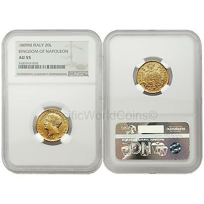 Italy 1809M Kingdom of Napoleon 20 Lire Gold NGC AU55