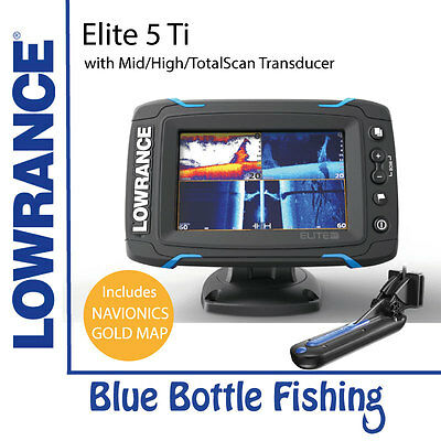 Lowrance Elite 5 Ti Mid/High/TotalScan + Navionics Gold All of Aus