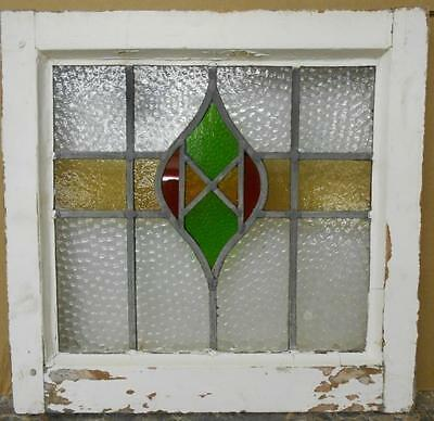 "OLD ENGLISH LEADED STAINED GLASS WINDOW Pretty Abstract 17"" x 16.5"""