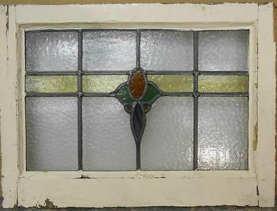 "MID SIZED OLD ENGLISH LEADED STAINED GLASS WINDOW Stunning Floral 22.25"" x 16.25"