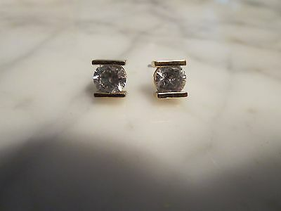 Sterling Silver Cubic Zirconia Stud Earrings Signed 925 MA