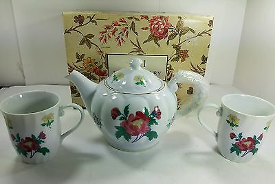 Laura Ashley Parfums Floral Teapot w Lid and 2 Matching Teacups