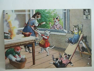 """Cat Tin Picture ~ Cats Playing at Home ~ 9"""" x 6"""" ~ Cat Collectible"""