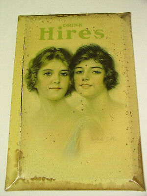 1910's HIRES ROOT BEER CELLULOID OVER TIN ADVERTISING SIGN By HASKELL COFFIN
