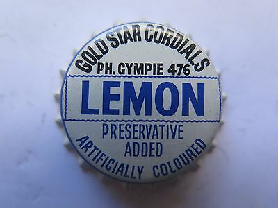 CROWN SEAL BOTTLE CAP GOLD STAR CORDIALS LEMON from GYMPIE QLD AUSTRALIA MINT
