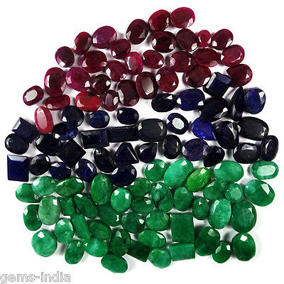 880 Ct+ Natural Emerald Ruby Sapphire Lot Mix Shape Faceted Gemstone For Jewelry