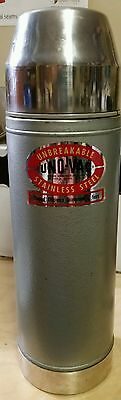 "Vintage UNO-VAC ""unbreakable"" Stainless Steel Quart Thermos"