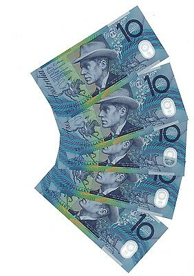 Australia $10 x 5 Cons Numbers 2008 Uncirculated Polymer