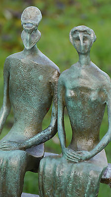 King & Queen Lovely Unique Abstract Contemporary Pure Bronze Sculpture Statue