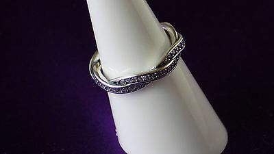 Pandora Braided PAVE  Size 56 Ring. Sterling Silver S925 ALE