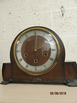 8 day Chiming Mantel Clock In Working Order By Smiths C1950