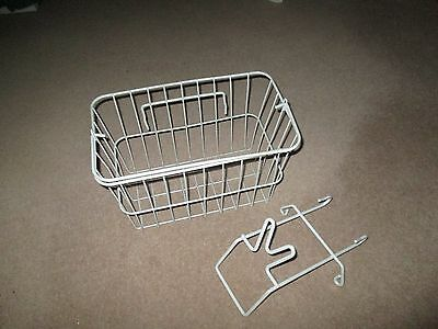 WHITE Wire 'Bicycle Basket' with Handle & Fittings.