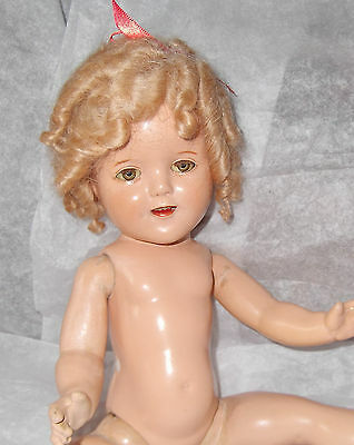 """Adorable Vintage 1930s Ideal 16"""" Composition Shirley Temple Doll to Dress"""