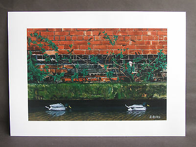 "Signed A3 art print ""Canal Ducks"" acrylic painting"