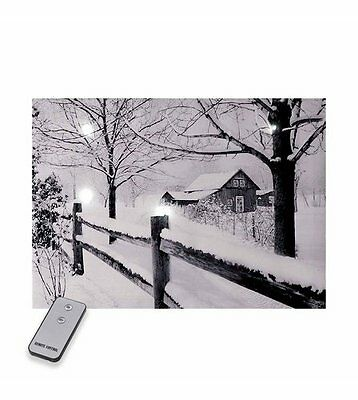 Remote Control LED Snowy Scene Canvas Christmas Lights / Decorations