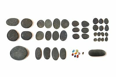 Starter Hot Stone Set - 43 Genuine Natural Basalt stones from Peru - Sth America