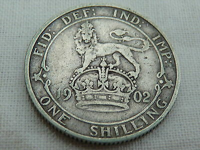 1902 Edward VII Shilling - Solid Silver in Great Condition