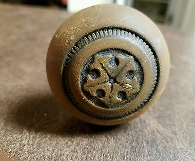 Antique National Brass Co Dexter Brass Door Knob and Lock Set 1940s