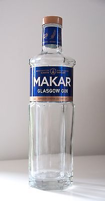 MAKAR GLASGOW GIN - EMPTY 70cl Glass Bottle + Stopper - Excellent Condition