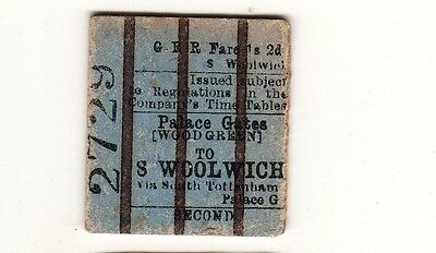 Railway ticket GER 2nd class Palace Gates (Wood Green) - S. Woolwich 1901